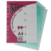 6 Tabs Plastic Index Divider with Numbers A4 DX542