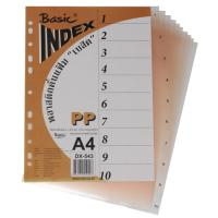 10 Tabs Plastic Index Divider with Numbers A4 DX543