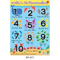 Counting Numbers Plastic Posters 1-10 Sea Animals Set EP-471
