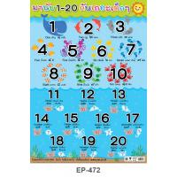 Counting Numbers Plastic Posters 1-20 Sea Animals Set EP-472