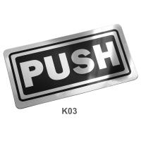 PP Foam English Plastic Signs Push 10x20 cm.PM-122/K03 Black