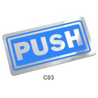PP Foam English Plastic Signs Push 10x20 cm.PM-122/C03 Light Blue