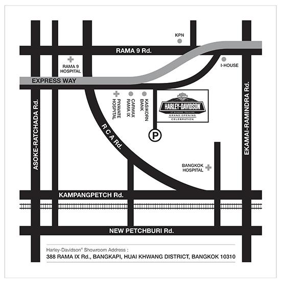 แผนที่ ฮาร์เล่ย์-เดวิดสัน พระราม9 Harley-Davidson of Bangkok Rama IX Showroom