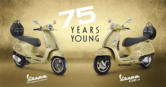 เวสป้าฉลองครบรอบ 75 ปี,VESPA 75th,VESPA 75th ANNIVERSARY SPECIAL EDITION,PRIMAVERA 150 i-Get ABS,GTS 300 HPE,VESPA 75th ANNIVERSARY,Vespa Primavera 150 i-Get ABS 75th Anniversary Special Edition,Vespa GTS 300 HPE 75th Anniversary Special Edition