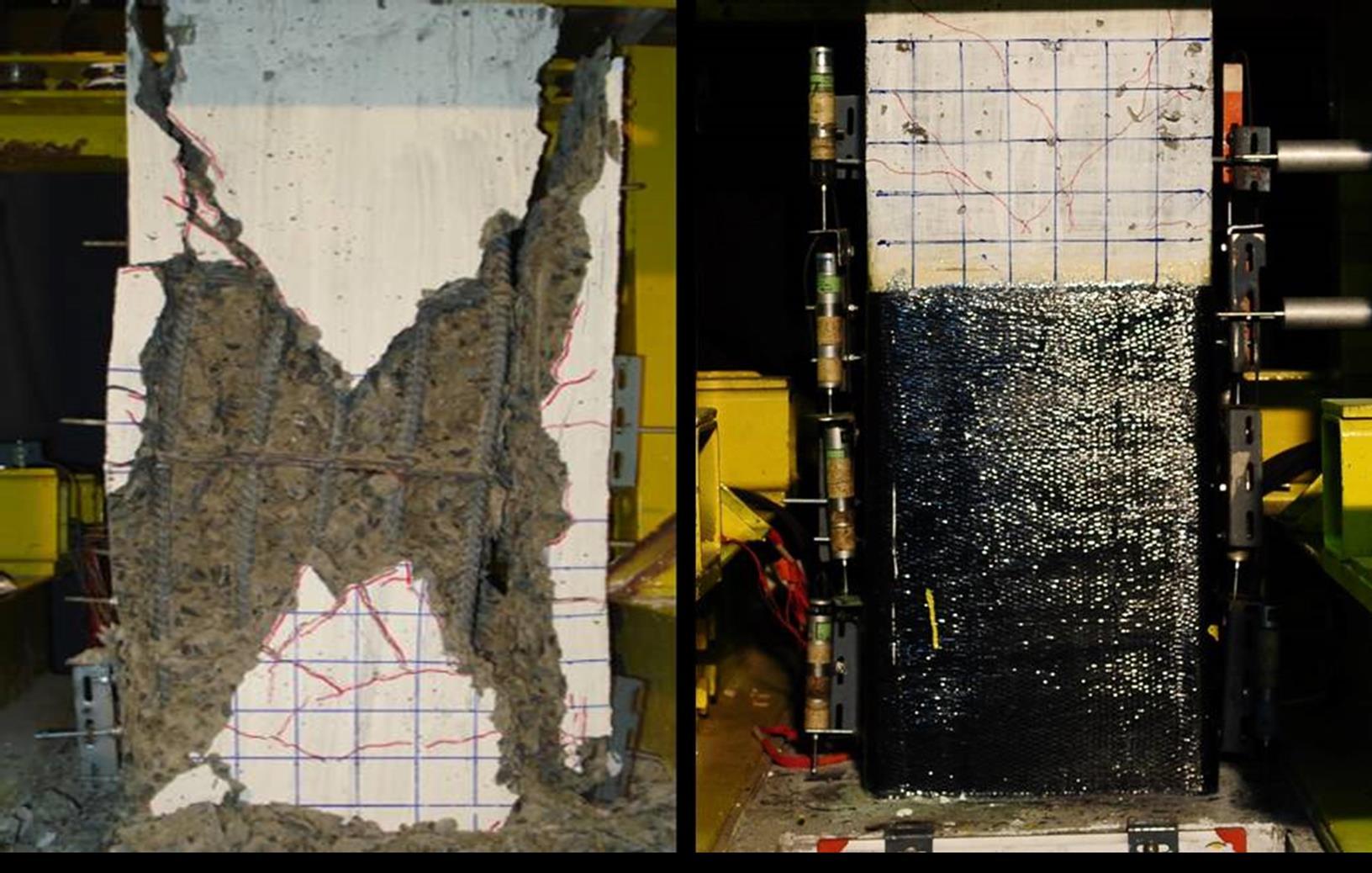 รูปที่ 4 เปรียบเทียบผลการทดสอบเสาที่ไม่ได้หุ้มด้วยแผ่นคาร์บอนไฟเบอร์ (ซ้าย) และเสาที่หุ้มด้วยแผ่นคาร์บอนไฟเบอร์ (ขวา)