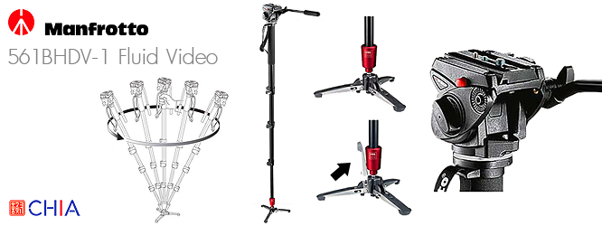 Manfrotto 561BHDV-1 Fluid Video + Head Monopod
