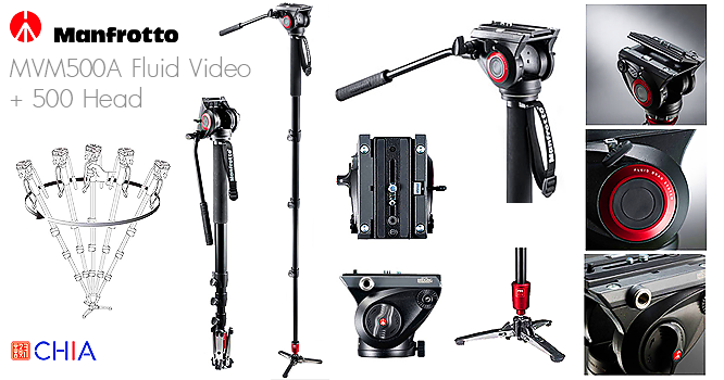 Manfrotto Monopod MVM500A Fluid Video + 500 Head Monopod Tripod ขาตั้ง