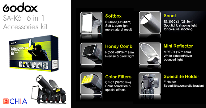 Godox SA-K6 6 in 1 Speedlite Accessorie kit Softbox กระจายแสงแฟลช