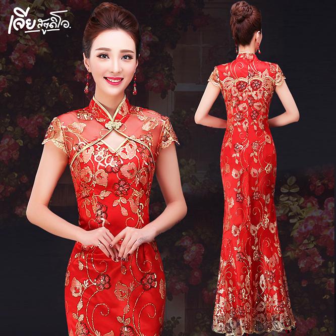 เช่าชุดกี่เพ้า ชุดจีน สีแดง ออกงาน งานหมั้น งานแต่ง เพื่อนเจ้าสาว สวย น่ารัก เจียสตูดิโอ หาดใหญ่ ถูก Qipao Chinese Dresses Hatyai-c9