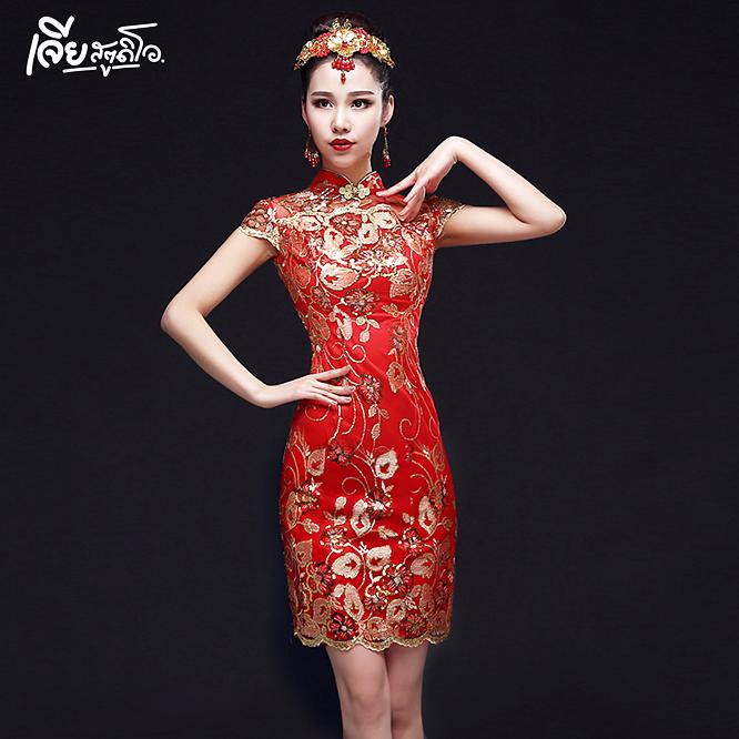 เช่าชุดกี่เพ้า ชุดจีน สีแดง ออกงาน งานหมั้น งานแต่ง เพื่อนเจ้าสาว สวย น่ารัก เจียสตูดิโอ หาดใหญ่ ถูก Qipao Chinese Dresses Hatyai-c10
