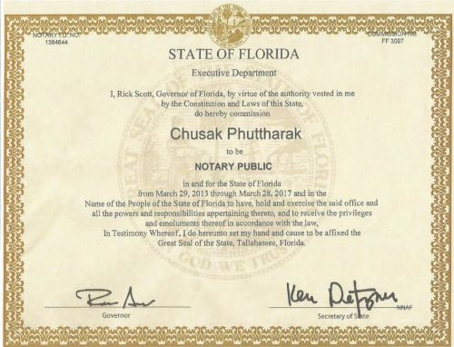 Notary Public Certificate of Florida