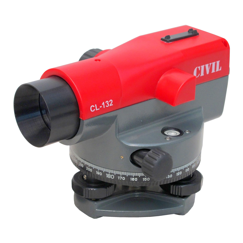 กล้องระดับขนาดกำลังขยาย 32 เท่า ยี่ห้อ CIVIL รุ่น CL-132  ผลิตภัณฑ์ประเทศจีน      1. เป็นกล้องชนิดอัตโนมัติพร้อมขาตั้ง 2. กล้องเล็งเป็นระบบเห็นภาพตั้งตรงตามธรรมชาติ 3. มีกำลังขยายไม่น้อยกว่า 32 เท่า 4. ขนาดเส้นผ่าศูนย์กลางของเลนส์ปากกล้องไม่น้อยกว่า 40 มิลลิเมตร  5. ขนาดความกว้างของภาพที่เห็นในระยะ 100 เมตร ไม่น้อยกว่า 2.3 เมตร หรือ 1 องศา 20 ลิปดา  6. ระยะมองเห็นภาพชัดใกล้สุด ไม่เกิน 0.3 เมตร 7. ค่าตัวคูณคงที่ 100 8. มีระบบอัตโนมัติโดยใช้ COMPENSATOR ที่มีช่วงการทำงานของระบบอัตโนมัติ ไม่น้อยกว่า ± 15 ลิปดา  9. ความละเอียดในการทำระดับ ในระยะ 1 กม.ไม่เกิน ± 1 มิลลิเมตร 10. ความไวของระดับน้ำฟองกลมไม่เกินกว่า 8 ลิปดา ต่อ 2 มิลลิเมตร หรือไวกว่า 11. มีจานองศาอ่านมุมราบ 360 องศา มีขีดกำกับทุกๆ 1 องศา 12. ขนาดเส้นผ่าศูนย์กลางของจานองศาไม่น้อยกว่า 108 มิลลิเมตร 13. อ่านค่ามุมโดยตรงไม่เกิน 1 องศา 14. อ่านค่ามุมโดยประมาณไม่เกิน 6 ลิปดา 15. ต้องได้รับประกาศนียบัตร ISO 9001