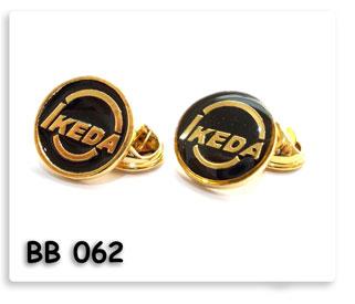 เข็มกลัดโลหะ ชุมทอง ลงสี เคลือบ เรซิน Ikeda
