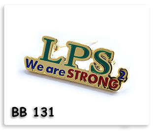 Pin เข็มกลัดโลหะ ชุบทอง ลงสี ฉลุลาย ไดคัท LPS We are STRONG