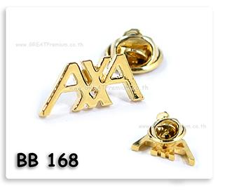 เข็มกล็ดโลหะ ฉลุลายชุบทอง AXA pinติดเสื้อ