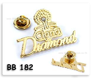 เข็มกลัดโ่ลหะฉลุลายชุบทองลงสี ติดเพชร Cigna Diamond