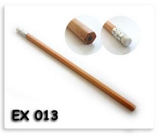 ดินสอไม้หกเหลี่ยม พร้อมยางลบ สีเนื้อไม้ธรรมชาติ พร้อมสกรีนโลโก้