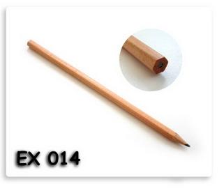 ดินสอไม้หกเหลี่ยม หัวท้ายตัด สีเนื้อไม้ธรรมชาติ พร้อมสกรีนโลโก้