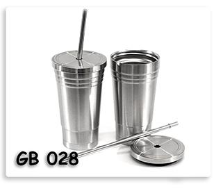 แก้วสแตนเลส สองชั้น มีฝาปิดและหลอดดูดน้ำ สินค้าพรีเมี่ยม พร้อมสกรีนโลโก้
