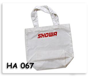 ถุงผ้าดิบ หูผ้าในตัว สกรีนโลโก้ ขยายก้นและขยายข้าง SHOWA