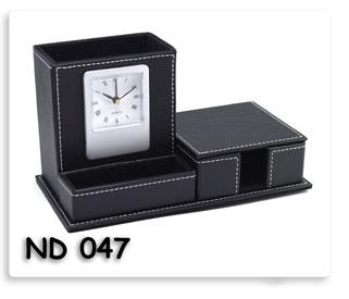 นาฬิกาตั้งโต๊ะกล่องหนังสีดำ ที่ใส่ของใส่กระดาษโน้ตตั้งโตีะ สินค้าพรีเมี่ยมพร้อมสกรีนข้อความ