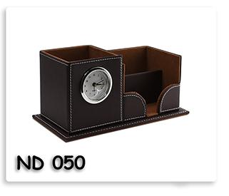 นาฬิกากล่องใส่ปากกา หนังเทียมสีน้ำตาล สินค้าพรีเมี่ยมพร้อมสกรีนข้อความ