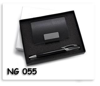 ชุดตลับนามบัตรหนังสีดำ ปากกา สินค้าพรีเมี่ยมพร้อมสกรีนโลโก้ฟรี