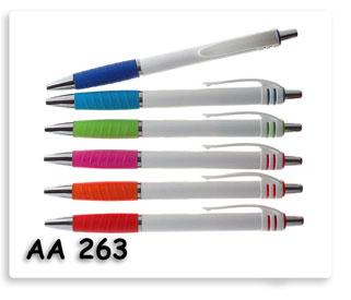 ปากกาพลาสติกด้ามหุ้มยางนิ่มหลากสี เป็นของพรีเมี่ยมสกรีนโลโก้