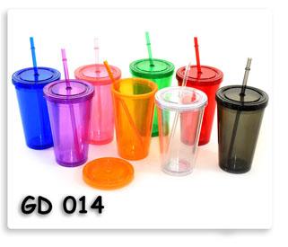 แก้วพลาสติก สองชั้น พร้อมหลอดดูดน้ำ เนื้อดี พร้อมสกรีนโลโก้ให้ฟรี