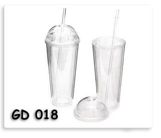 แก้วน้ำพลาสติกสองชั้นพร้อมฝาปิดทรงโดมและหลอดดูน้ำเนื้อดี ของพรีเมี่ยมสกรีนโลโก้