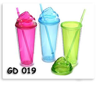 แก้วพลาสติกสองชั้นพร้อมหลอดดูน้ำฝาปิดทรงโดมไอติม ของพรีเมี่ยมพร้อมสกรีนโลโก้ฟรี