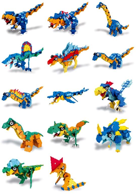 ภาพโมเดล ไดโนเสาร์ ของชุด LaQ Dino Kingdom ทั้ง 14 แบบ จากญี่ปุ่น