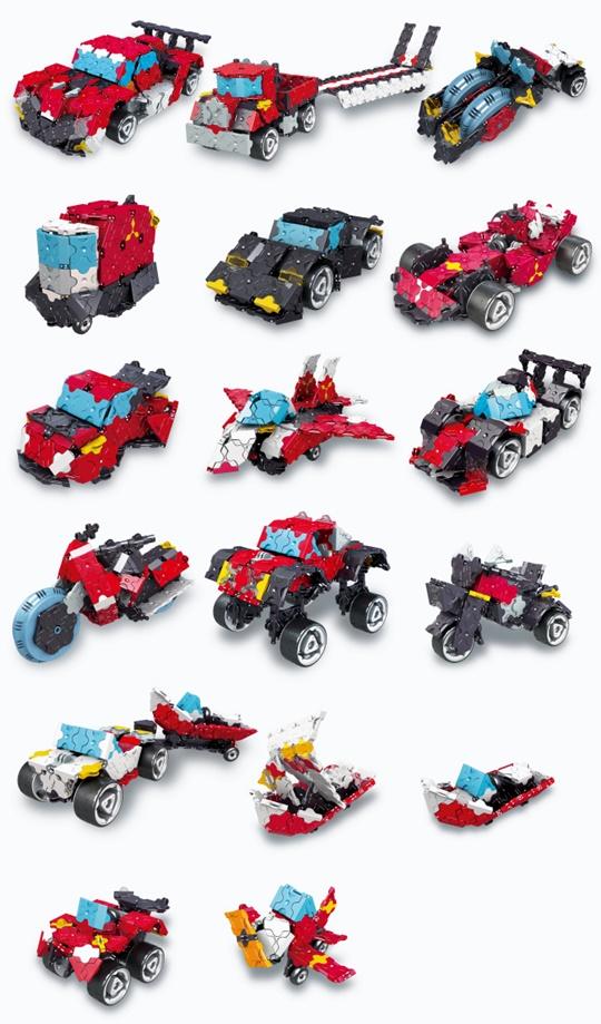 โมเดลยานยนต์แบบต่างๆ ที่สามารถสร้างได้ของชุดตัวต่อลาคิว LaQ ชุด Speed Wheels ชุดรวมยานยนต์