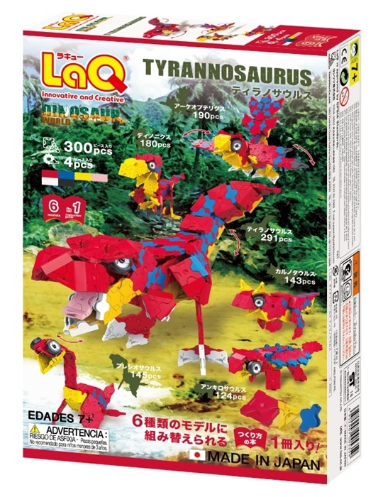 ตัวต่อลาคิว LaQ ชุด Tyrannosaurus ไดโนเสาร์ ไทแรนโนซอรัส สีแดง กล่องด้านหลัง