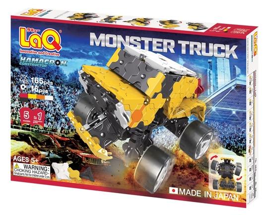 ตัวต่อลาคิว ชุด รถบรรทุกขนาดยักษ์ LaQ Monster Truck ภาพกล่องด้านหน้า เสริมพัฒนาการ, ผลิตในญี่ปุ่น