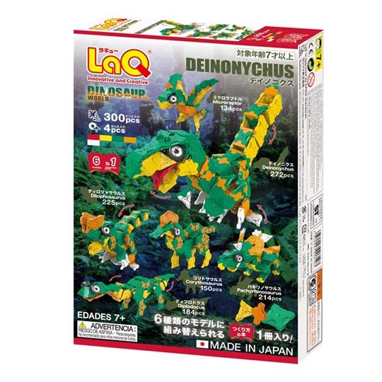 ตัวต่อลาคิว LaQ ชุด Deinonychus ไดโนเสาร์ ไดโนนีคัส สีเขียว กล่องด้านหลัง