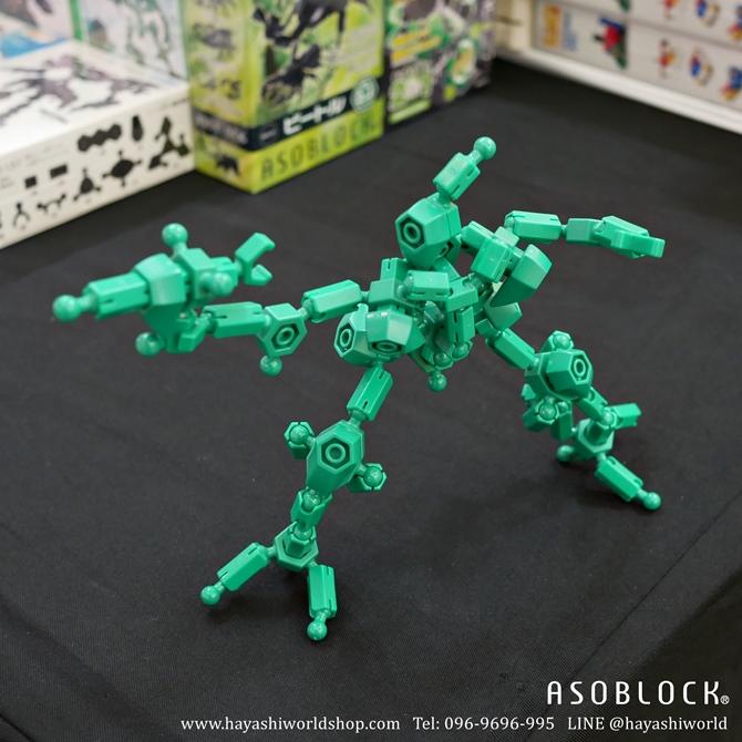 หุ่นอโซบล็อคสีเขียว โมเดล อโซบล็อค จากชุด 151G ที่มีชิ้นส่วนสีเขียวล้วน