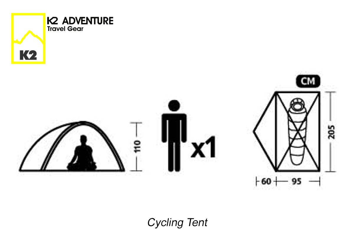 ขนาดเต็นท์จักรยาน นอนเดี่ยว K2 ADVENTURE รุ่น Cycling