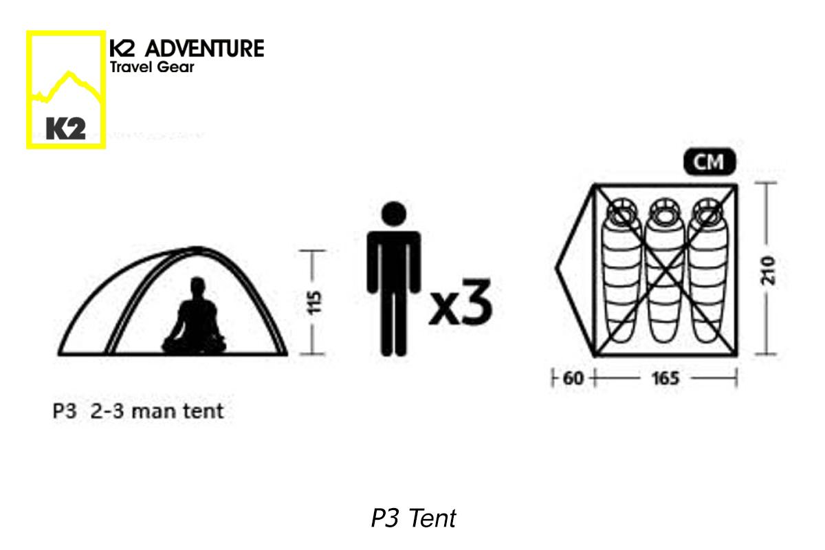 เต็นท์ K2 ADVENTURE รุ่น P3 ขนาด 2-3 คนนอน มีน้ำหนักเบา เสาอลู กันฝน กันลมเป็นเยี่ยม ไปเปลืองพื้นที่เมื่อต้องเก็บ ใส่ลงในกล่องข้างมอเตอร์ไซค์ได้ เหมาะกับ จักรยาน และมอเตอร์ไซค์ทัวริ่ง