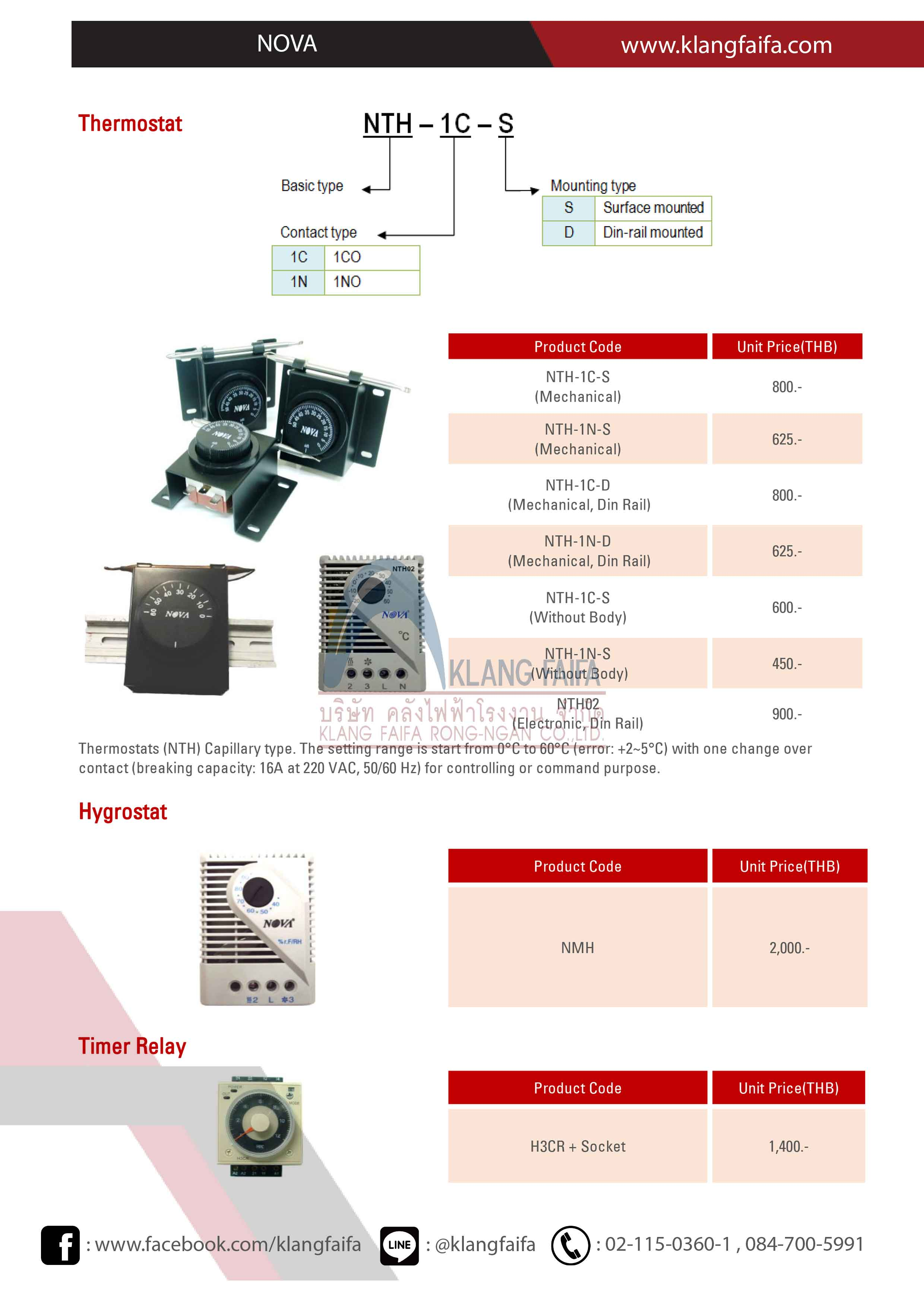 Pilot lamp, LED lamp, Push button switch, Selector switch, Semaphore, Indicator, Minature Buzzer, Space Heater, Thermostat