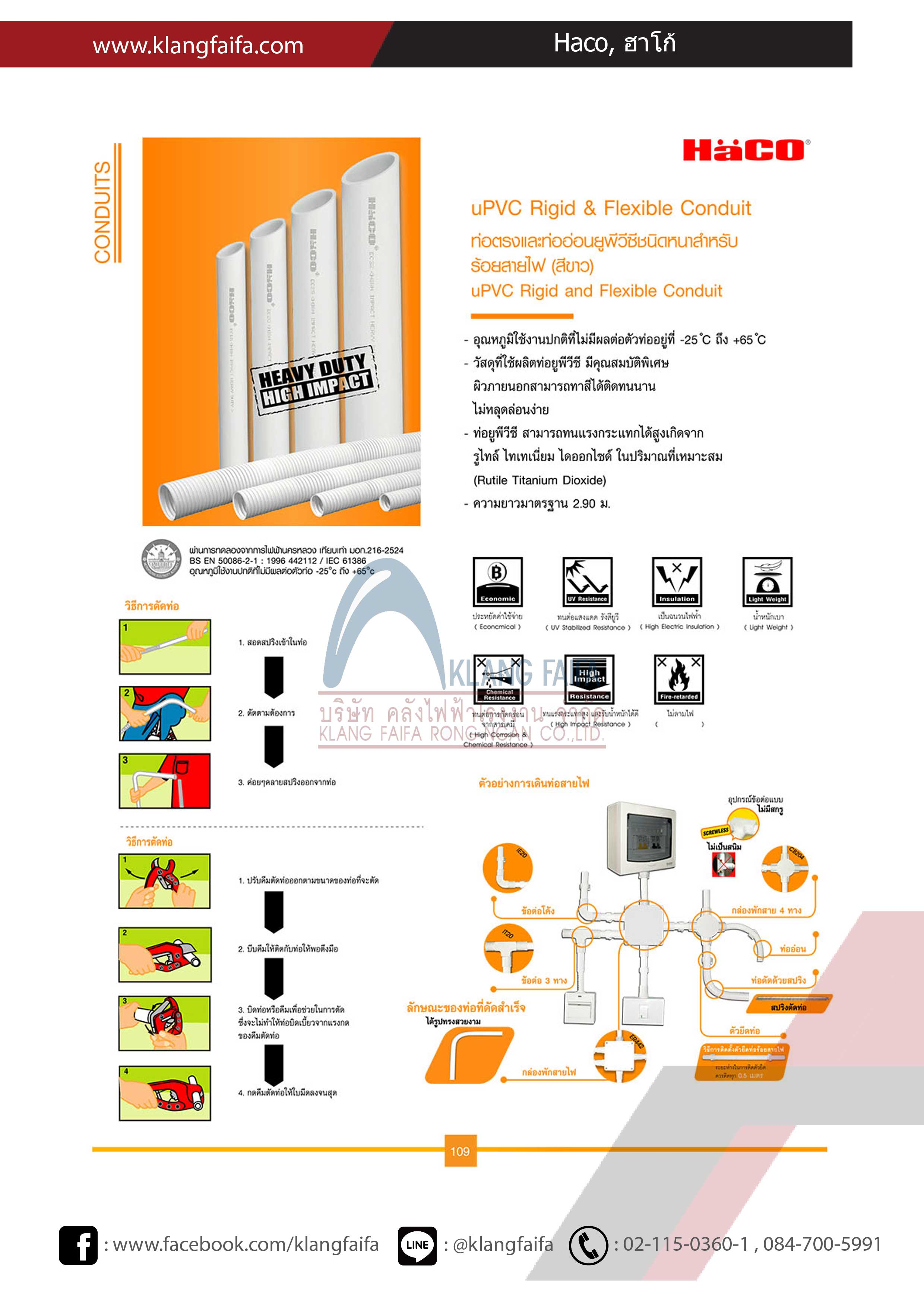 Haco, ฮาโก้, uPVC Conduit Trunking and fitting, CatalogHaco2018-2019
