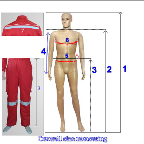 Coveralls Size measuring guide