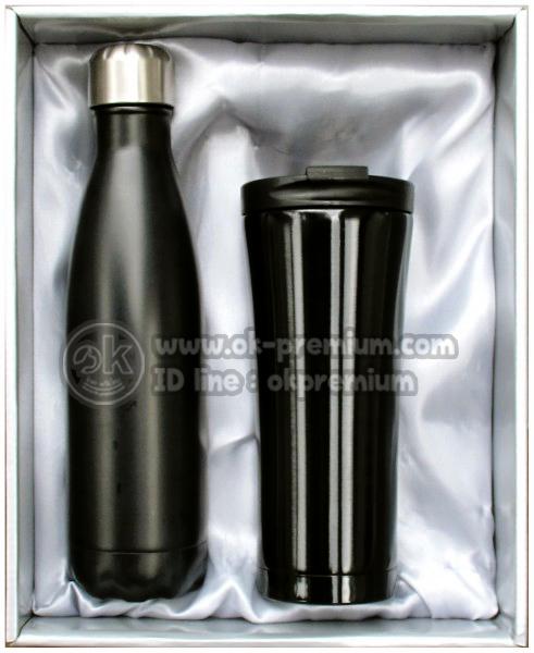 K972 ชุดกิฟท์เซ็ทขวดน้ำร้อน-น้ำเย็น สีดำ ขวดสแตนเลส สินค้านำเข้า ของพรีเมี่ยม ของฝาก ของแจก ของแถม พรีเมี่ยม สกรีนโลโก้