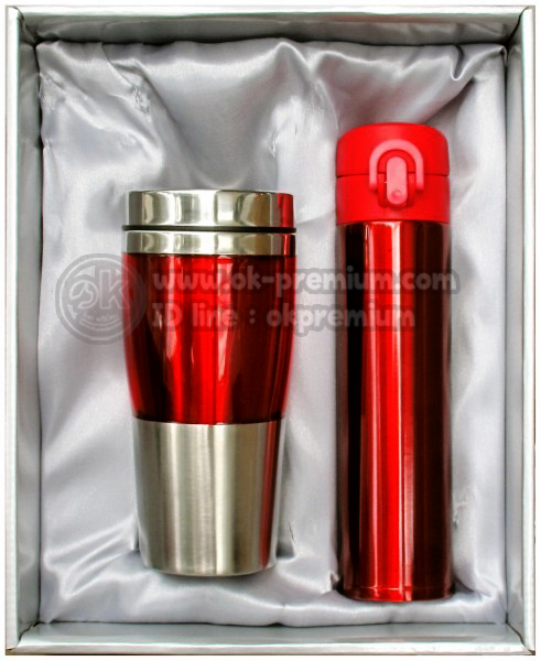 K979 ชุดกิฟท์เซ็ทขวดน้ำร้อน-น้ำเย็น สีแดง ขวดสแตนเลส สินค้านำเข้า ของพรีเมี่ยม ของฝาก ของแจก ของแถม พรีเมี่ยม สกรีนโลโก้