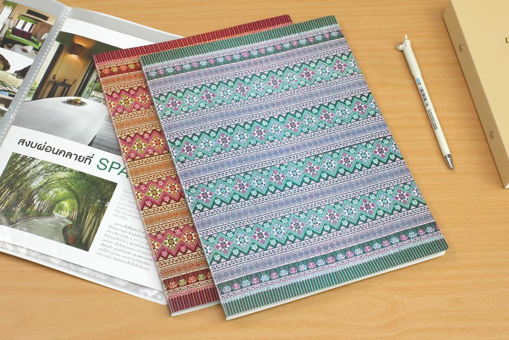 เครื่องเขียนแฟ้มโชว์เอกสาร แฟ้มโชว์ 20 ช่อง ลายผ้าไทย
