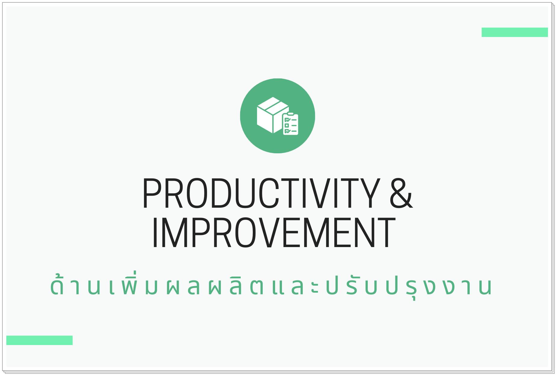 ด้านเพิ่มผลผลิตและปรับปรุงงาน (Productivity & Improvement)