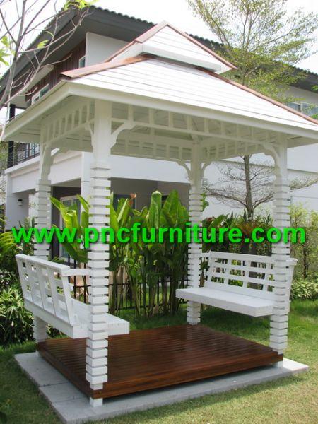 ศาลาไม้สัก สีขาว สไตล์โมเดิร์น ศาลาไม้หน้าบ้าน หรือ บริเวณข้างบ้านก็ดูสวยงาม และเหมาะสม