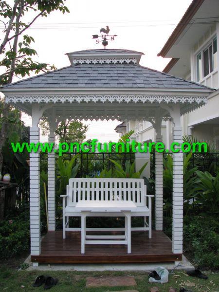 ศาลาไม้สัก ศาลาไม้สีขาว ศาลาหน้าบ้าน ศาลาน็อคดาวน์