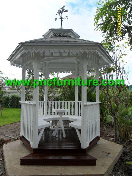 ศาลาไม้สัก ศาลาไม้แนววินเทจ ศาลานั่งเล่น ศาลาพักผ่อน ศาลาสีขาว ศาลาไม้ในสวนหย่อม
