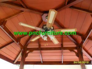 ซุ้มศาลาไม้สัก รุ่นเดอะแกรนด์ ไม้ระแนง ชุดโคมไฟ  4 x 3 เมตร